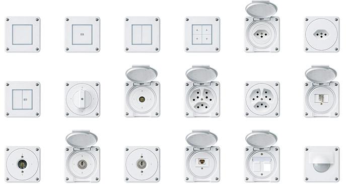 Hager Robusto Steckdosen, Schalter, Apparate, IP65, T13, T23, T15, T25, Schlüsselschalter, Drehschalter, Bewegungsmelder, Anschlusssäule